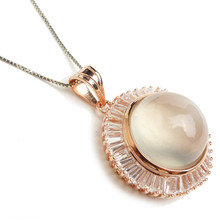 Natural Genuine Moonstone Round Pendant For Women Necklace Charm Jewelry Natural Moonstone Pendant Gift(China)