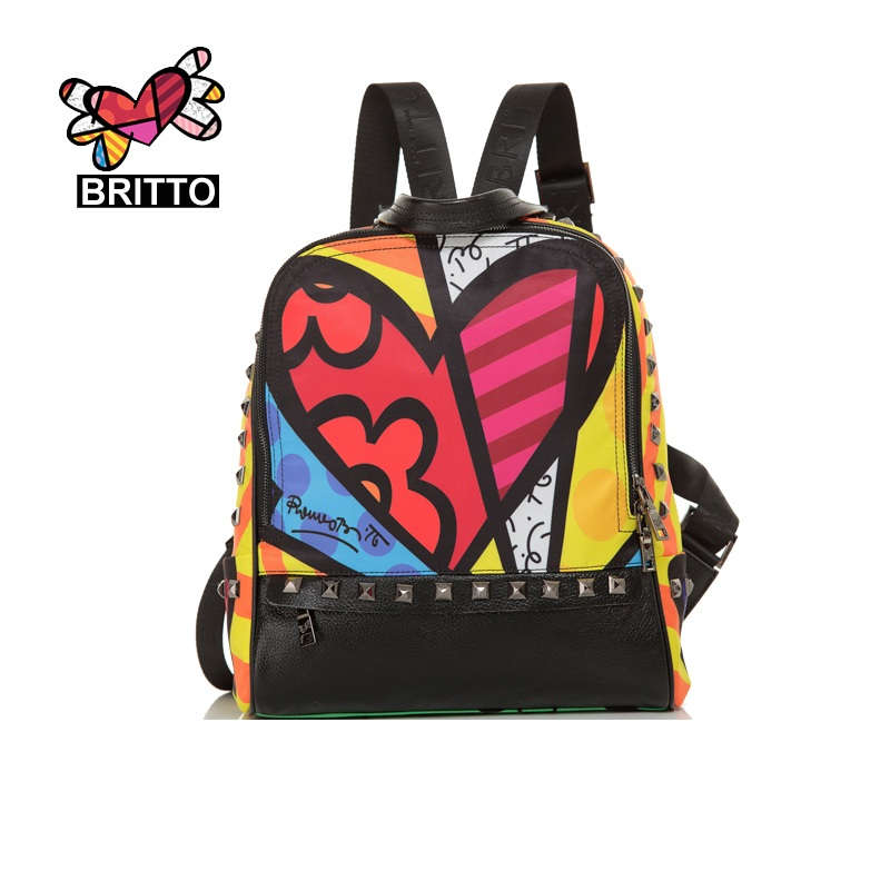 BRITTO Genuine Leather Backpacks For Casual Travel School Bags For Teenage Graffiti Stylish Book bags Vintage Laptop Backpacks(China)