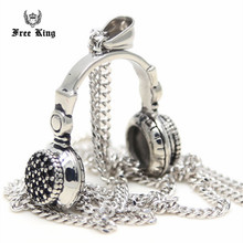 New Wholesale Stainless Steel Headset Pendant Necklace Fashion  Earphone Necklace  Mens Jewelry The trend of music