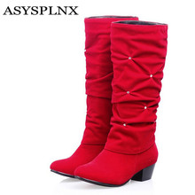 ASYSPLNX nubuck flock Black Red Blue solid colour women square heel mid calf boots autumn winter pleated Diamond ladies shoes
