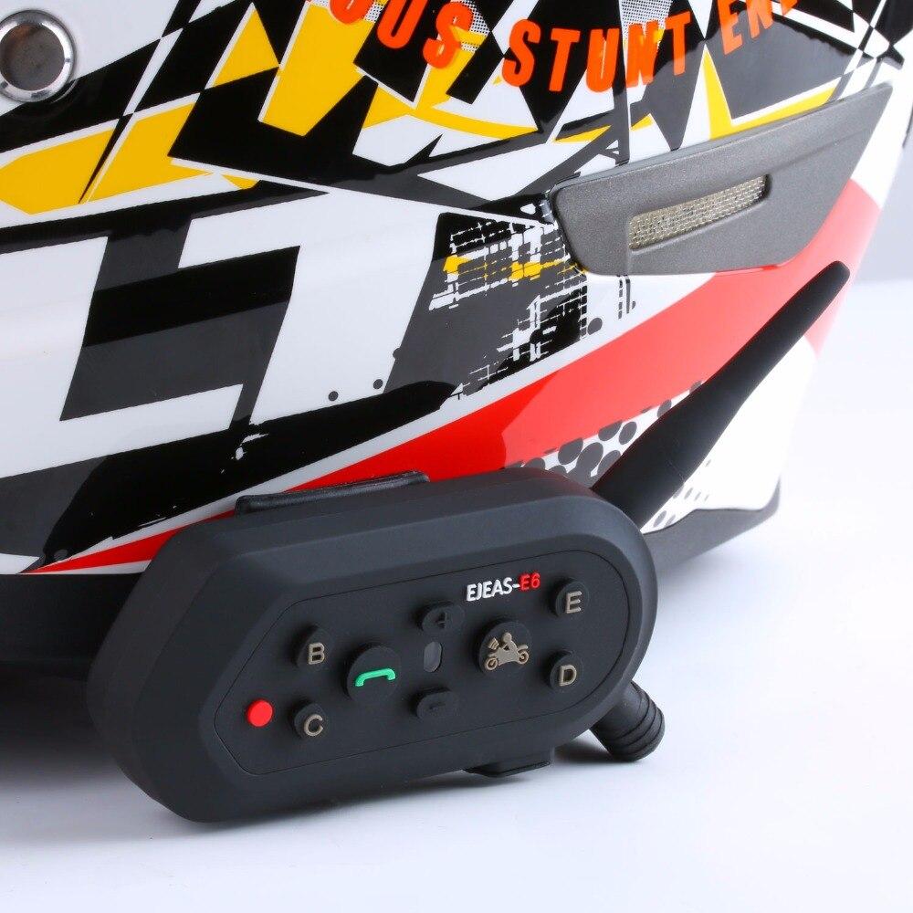 EJEAS E6 Bluetooth 3.0 Motorcycle Helmet Intercom 1200M Intercomunicador Helmet Interphone Headsets with HD Sound for 6 Riders
