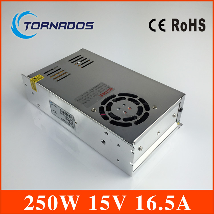 240W SMPS single output: 15V 16.5A switching power supply for LED Strip light, led power supply CCTV cami,enhanced type:S-250-15<br>