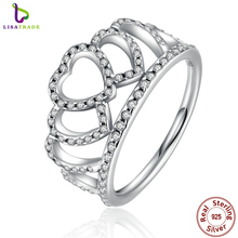100% 925 Sterling Silver Hearts Tiara, Clear CZ Women Finger Ring Compatible with Original Jewelry PA7194