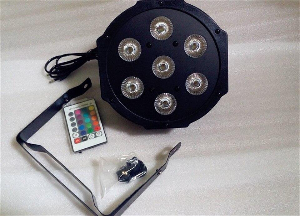 6 unids/lote Control remoto led par 7x12 w rgbw 4in1 led de lujo luces dmx 4/8 canales led par plana<br>