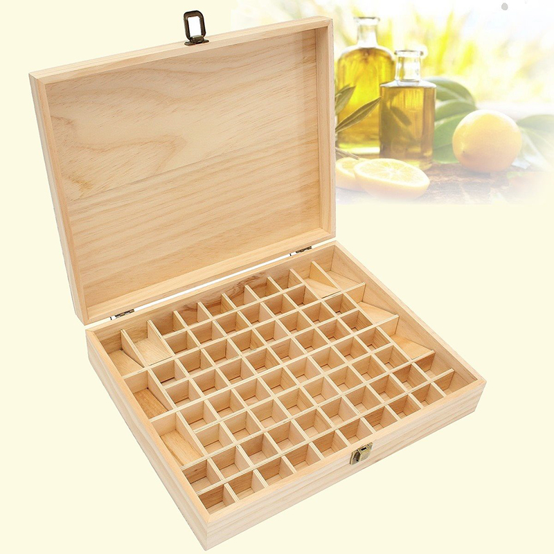 Solid Wood Essential Oil Bottle Storage Box Oversized Model Multiple Compartments Natural Essential Oil Display Case 2