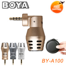 BOYA BY-A100 3.5mm TRRS Connection Mini Omni Directional Condenser Microphone for iphone7 / 6S /6 for iPod Touch(China)