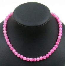 Natural Stone Jewelry Vintage Classic  Handcrafted Slightly Pink  Rubies Beads Necklace 44cm