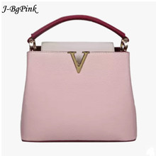 2017 New Fashion Women Handbag Female V metal PU Leather crossbody Shoulder Bag High Quality Panelled Messenger Bag for lady(China)