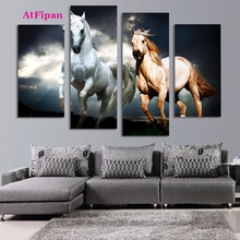 AtFipan Unframed Horse Painting Canvas Wall Spray Painting Modern Decorative Canvas Art Work Prints On The Living Room Posters