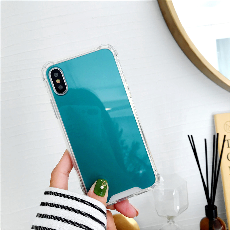 Mirror Phone Case for iPhone 7 8 Plus TPU Back Protect Case for iPhone X Xr Xs Max 6 S 8 Plus Cover Reflect Girly Cute Case Capa