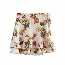 Buy 2018 new summer women bow tie high waist floral mini skirt female cascade ruffles splicing flowers printed short skirt clothing for $10.99 in AliExpress store