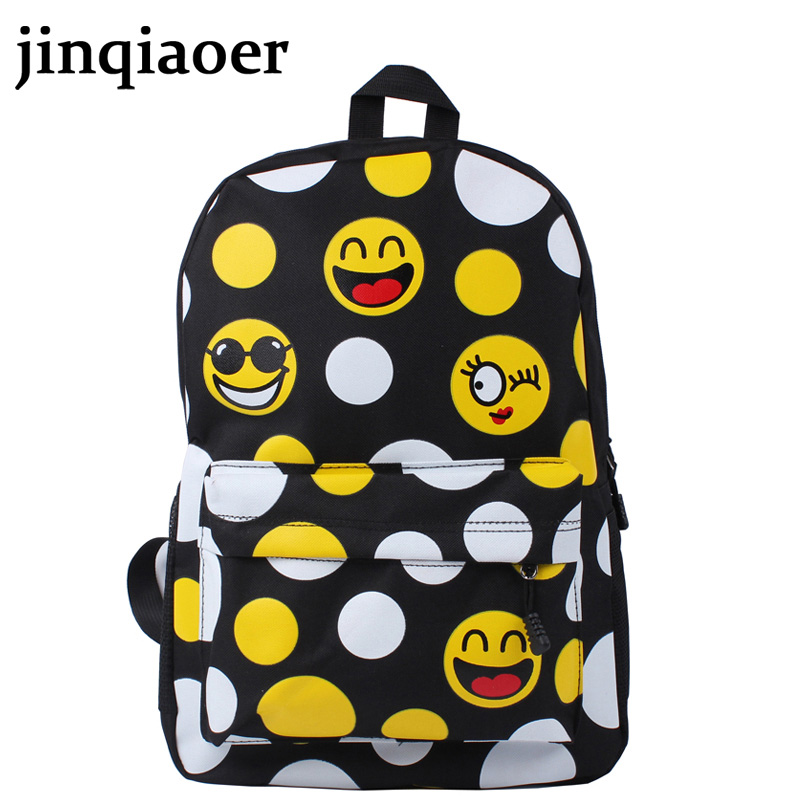 2016 FASHION Priting Canvas Smiley School Bag Casual Children Smile School Bags For Teenagers Womens Mini Smile Book Bag Kids<br><br>Aliexpress