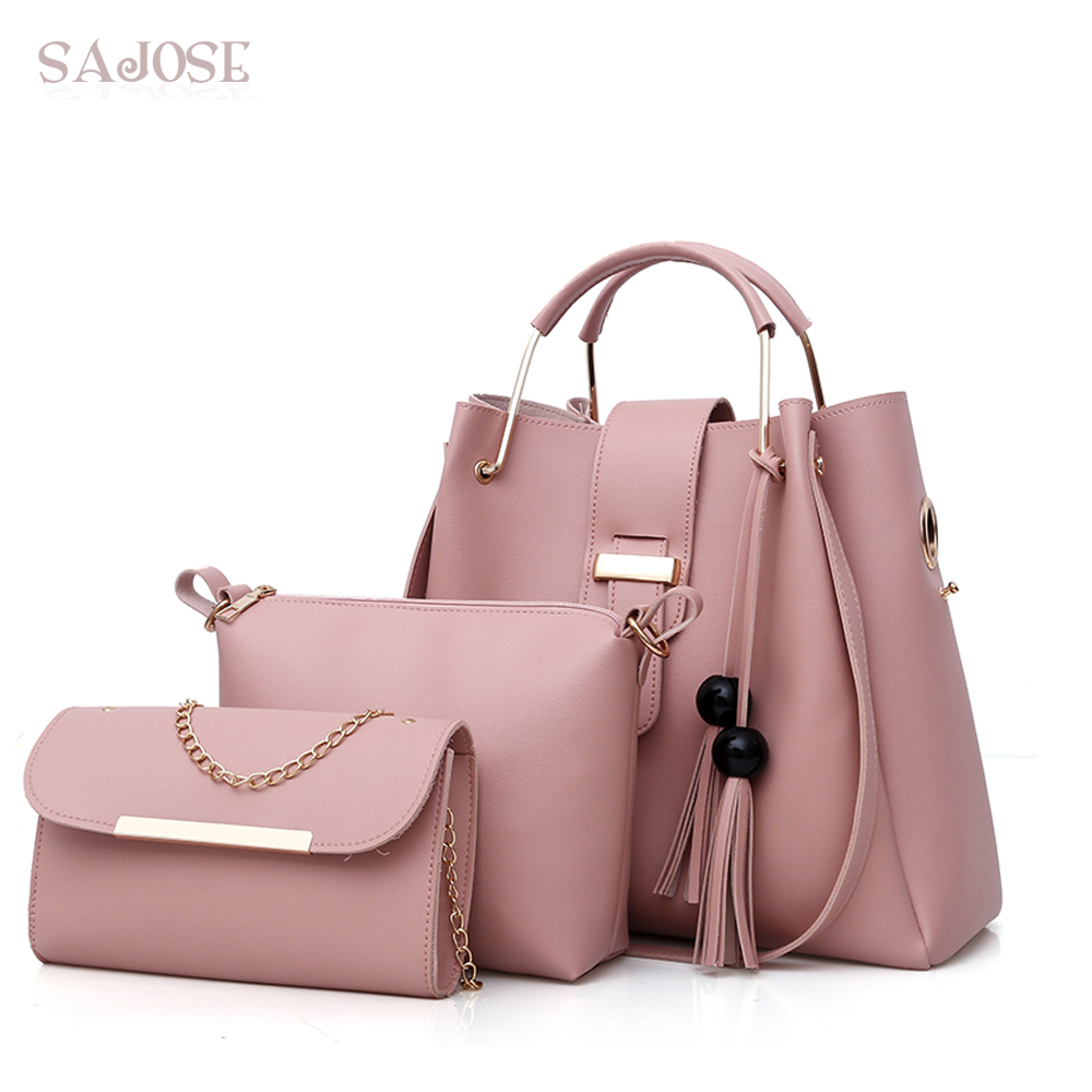 Women Bag Top-Handle Bags Female Famous Brand 3 Sets Tassel Messenger Bags Pink Handbag Set Leather Composite Bag Drop Shipping<br>