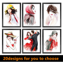10pcs/lot Fashion painting home decor painting abstract watercolor figures painting shop wall decor paintings home decor HD0229