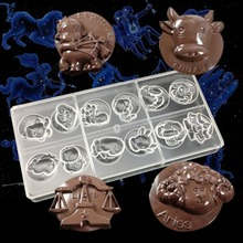 Twelve constellations chocolate molds Plastic Polycarbonate Clear bakery Mold Kitchen baking pastry tools(China)