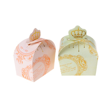 Hight Quality Crown Candy Box Chocolate Box Favor Box, Light Pink & Light Green, 8*6.5*5cm, 50pcs/pack(China)