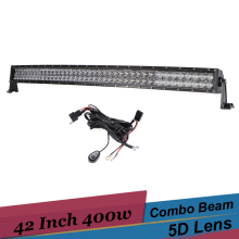 42 Inch Curved LED Light Bar 400W Driving Work Light Combo Offroad Suv Tractor Truck Bar for Jeep Renegade Dodge Ram FJ Cruiser