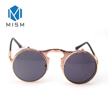 MISM High Quality punk Sunglasses Men Women Metal Wrap Eyeglasses Round Flip Shades Designer Sun glasses