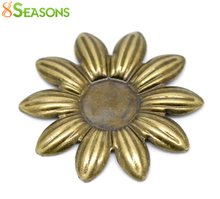 8SEASONS 50 Antique Bronze Filigree Flower Cabochon Setting Embellishments Findings 36x36mm(Fit 12mm) (B18535)(China)