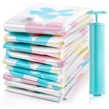 7pcs/lot Vacuum Storage Bags + Hand Pump Travel Organizer for Clothes and Underwear Medium and Small Size Seal Compression Bag
