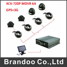 4Channel H.264 Car Vehicle Mobile DVR 3G GPS Car MDVR System 4CH AHD Camera DVR Kits(China)