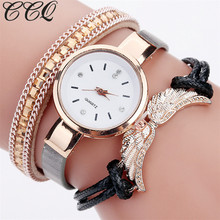 CCQ Brand Fashion Women Bracelet Wing Pendant Watch Gold Quartz Gift Wristwatches Casual Relogio Feminino