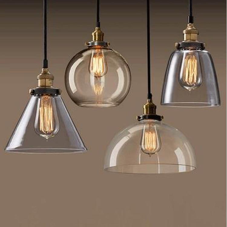 Light bulb pendant light copper glass restaurant pendant light single pendant light vintage retractable wall lamp american style<br>