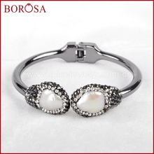 BOROSA Double Pearl Copper Crystal Paved Zircon Bangle Natural Pearl Bangles Design High Quality Fashion Jewelry JAB437