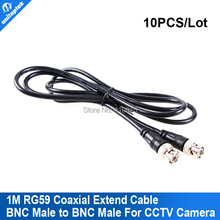 10pcs/lot 1M BNC to BNC male RG59 cctv camera power video cable Security Camera Coaxial Cable