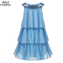 New Kids Girl Sleeveless Sequins Multi Layers Chiffon Pullover Cute Dress 2017 Special Occasion Party Dresses Vestidos(China)