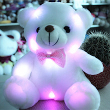 J242 Kawaii!! New Arrival 20cm LED Soft Colorful Glowing Small Animal Bear Stuffed Doll Plush Toys Kids Gifts Wholesale(China)