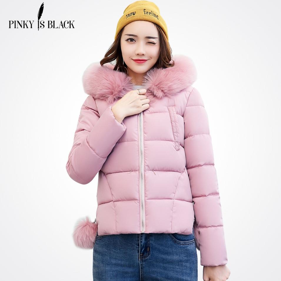 Pinky Is Black Winter Jacket Women Short Jacket 2017 New Girls Slim Large Fur Hooded Warm Parkas Coat Female Autumn OuterwearÎäåæäà è àêñåññóàðû<br><br>