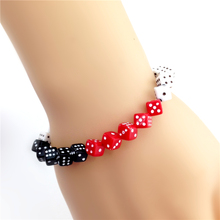 Alibaba Express New Arrival Free Shipping Elastic Special Design Black White Red Dices Cubes Bracelets 2017