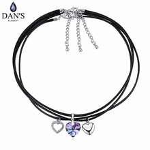 DAN'S ELEMENT 8 Colors Austrian Crystal From SWAROVSKI  Leather no allerg choker Pendant Necklace for women Fashion