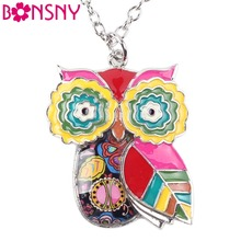 Bonsny Maxi Statement Metal Alloy Enamel Jewelry OWL Necklace Chain Collar Choker Pendant 2016 Fashion New For Women Owl Jewelry(China)