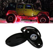 2PCS Hot sales 12v 24 under car light 2inch 9W single color led rock light for Off road truck 4x4 SUV ATV vehicle cars(China)