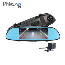 Phisung W01 6.5inch FHD 1080P car dvr mirror Dual Lens Loop Recording Motion Detection parking dash cam video registrator(China)