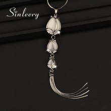 SINLEERY Sexy Vintage 3 Opal Tulip Flower Long Pendant Tassel Necklace For Women Black Chain Suspension Statement Jewelry My311(China)