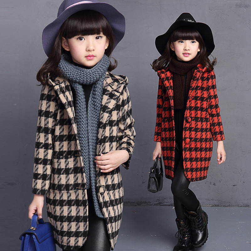 Childrens Winter Jackets Wool &amp; Blends Wool Coat For Girls 3 4 6 8 10 12 14 Years Baby Girls Pink Red Woolen Winter Teenage Coat<br>