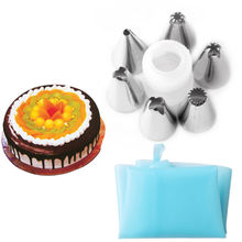 LINSBAYWU 7pc/set Silicone Icing Piping Cream Pastry Bag Stainless Steel Nozzle Sets Cake DIY Decorating Baking Tool Bakeware(China)
