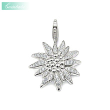 Pendant Edelweiss 925 Sterling Silver For Women Wholesale Promotion Western Initial Snowflake Pendant Charms Holder Components