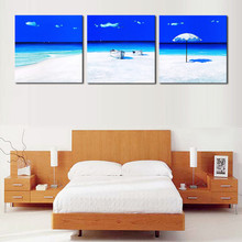 Figure 3 board pictures sea beach tourism contemporary household adornment picture on the canvas print news photo wall art frame(China)