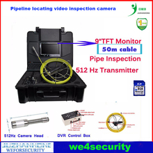 "9""TFT Mon 50M Strong Cable Pipe Inspection Camera With 512Hz Transmitter,Keypad, Sewer Drain Inspection Snake Camera Video(China)"