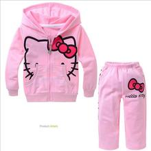 The little girl dress pink sweater suit cartoon Hello Kitty baby girl dress children clothing Sweater+sweatpants for baby girls