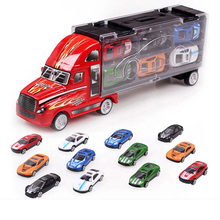 12 pcs Container Truck Toy Cars Alloy Car Model Birthday Xmas Gift Toy Car(China)