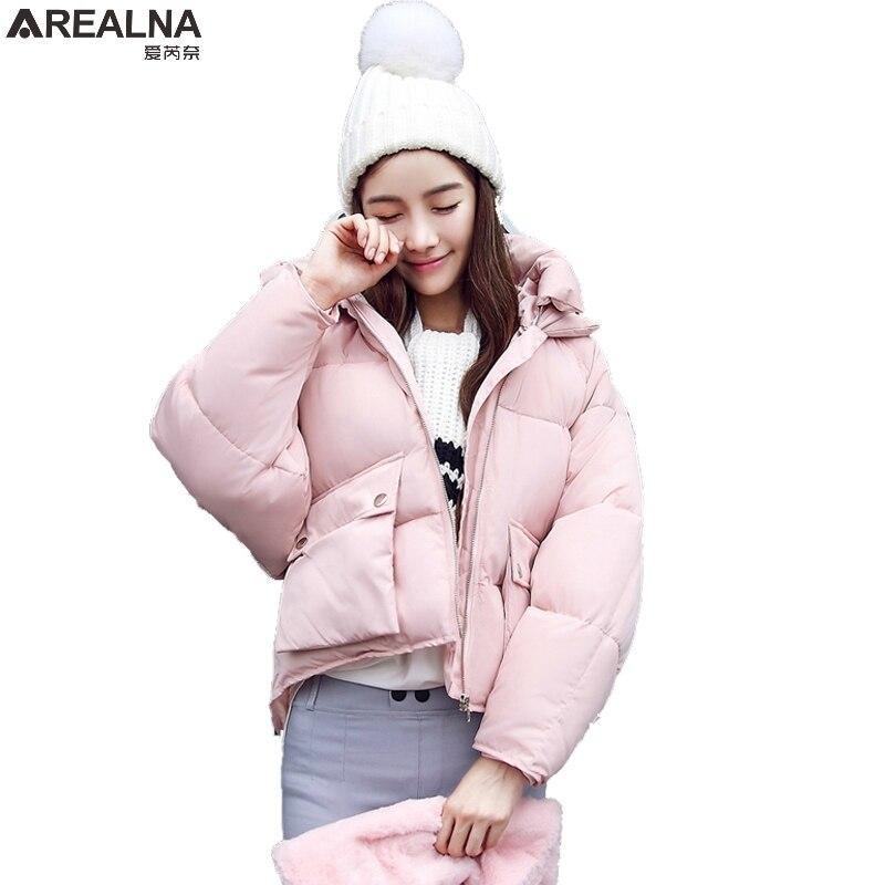 2017 Winter jacket women Short Design Cute Cotton Thicken Pink Coats Causual Warm Hoodies Loose Parkas plus size Casaco FemininoÎäåæäà è àêñåññóàðû<br><br>