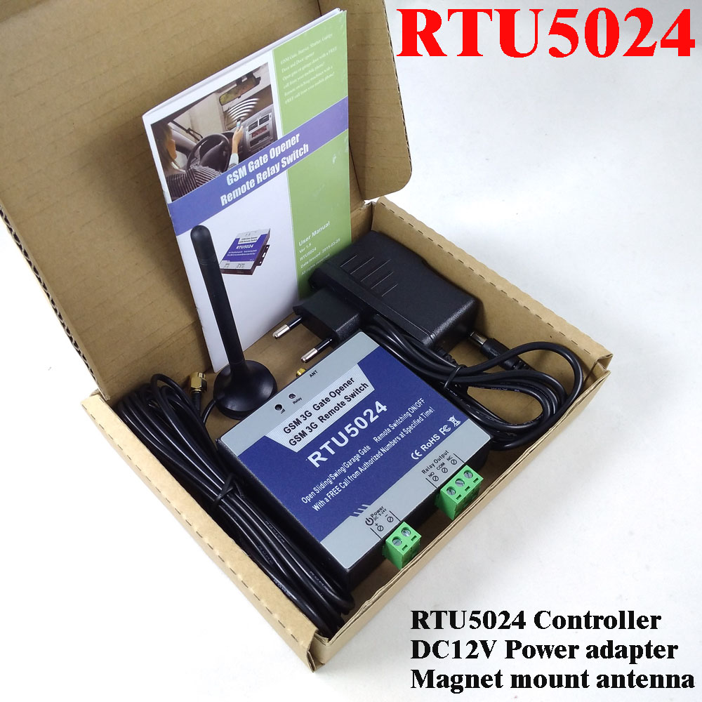 RTU5024 GSM Automatic Swing Sliding Gate Opener Garage door GSM home remote access controller Relay output App support<br>