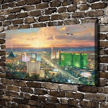 H1121 Thomas Kinkade Viva Las Vegas Scenery, HD Canvas Print Home decoration Living Room Bedroom Wall pictures painting
