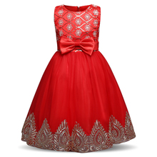 Summer Girl Party Dress Red Flower Girl Wedding Gown Children Frocks Design Little Princess Kids Tulle Costume Dresses For Girls