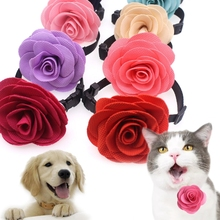 Misterolina Pet Puppy Dog Cat Cute Bow Tie Necktie Rose Flower Adjustable Collars With Bell Flower Dog Collar&Bow tie PDA2942(China)